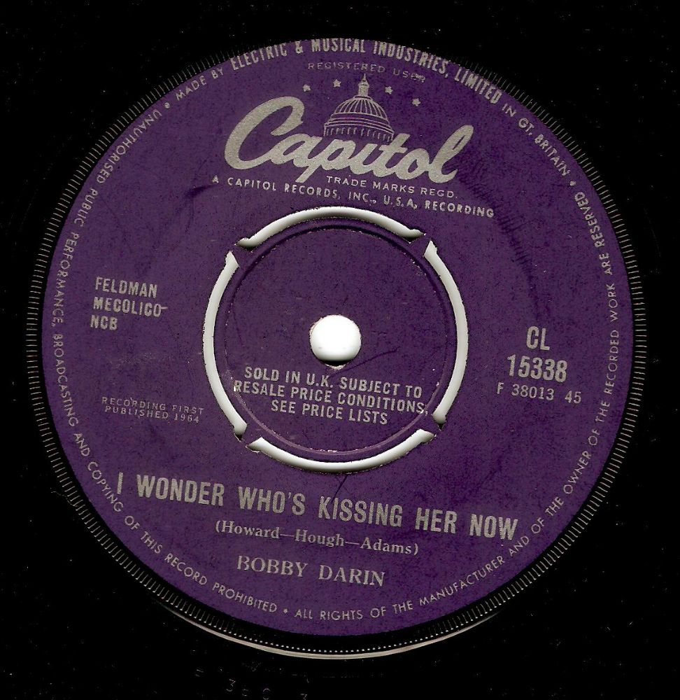 BOBBY DARIN I Wonder Who's Kissing Her Now Vinyl Record 7 Inch Capitol 1964